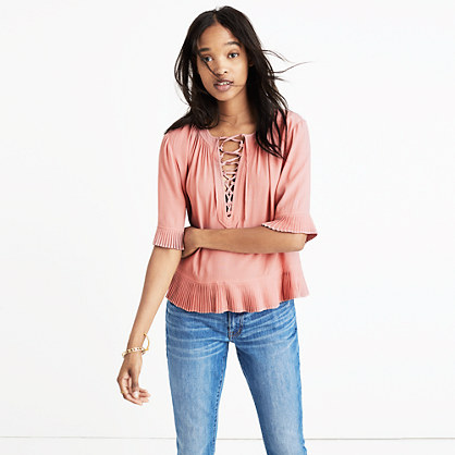 Pre-order Sunpleat Lace-Up Top