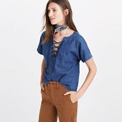 Denim Lace-Up Top
