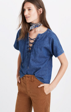 Denim Lace-Up Top