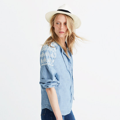 Embroidered Chambray Tealeaf Top