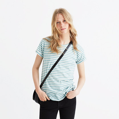 Whisper Cotton Crewneck Tee in Fenwick Stripe
