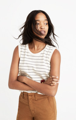 Whisper Cotton Crewneck Muscle Tank in Selby Stripe