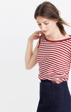 Whisper Cotton Crewneck Muscle Tank in Fenwick Stripe