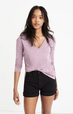 Whisper Cotton Long-Sleeve V-Neck Tee