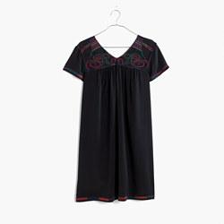 Embroidered Silk Colorstitch Dress