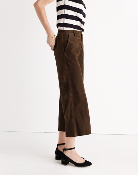 Suede Culotte Pants in kale image 3