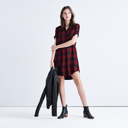 Courier Shirtdress in Burgundy Buffalo Check