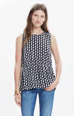 Ruffle Tank Top in Bloomstamp