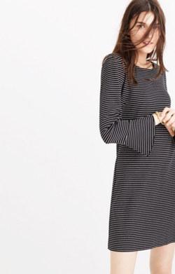 Knit Bell-Sleeve Dress in Stripe
