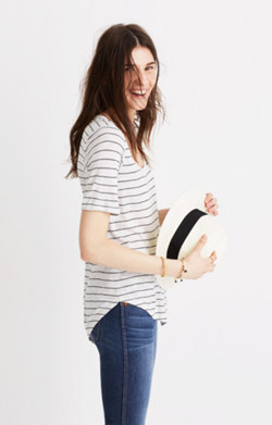 Anthem Scoop Elbow-Sleeve Tee in Gabriel Stripe