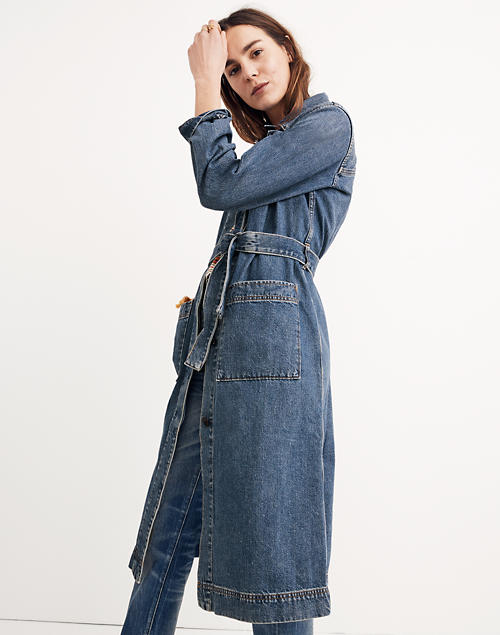 5e6b604be70 Denim Duster Coat in alvarado wash image 1