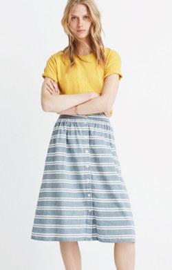 Striped Button-Front Midi Skirt