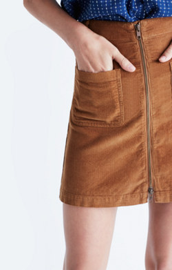 Corduroy Zip Mini Skirt