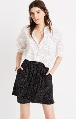 Silk Faux-Wrap Skirt in Dot Scatter