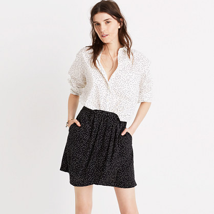 Silk Faux-Wrap Skirt in Dot Scatter