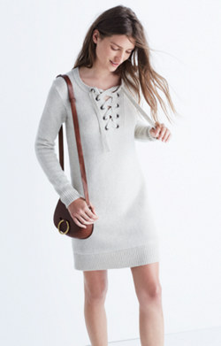 Lace-Up Sweater-Dress