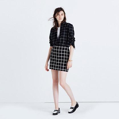 Double Windowpane Mini Skirt