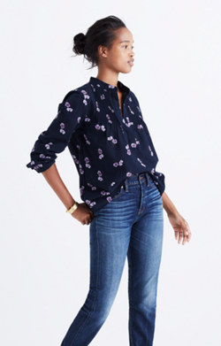 Pintuck Popover Shirt in Pansy Bouquet