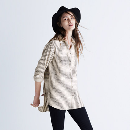 Flannel Oversized Ex-Boyfriend Shirt in Mick Stripe