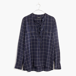 Silk Lace-Up Shirt in Windowpane Plaid