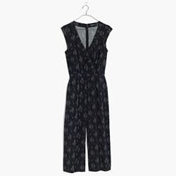 Wrap-Front Culotte Jumpsuit in Vine Scatter