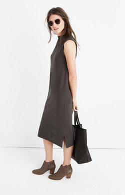 Mockneck Jersey Midi Dress