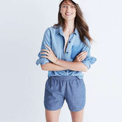 Cotton-Linen Pull-On Shorts in Chambray Stripe