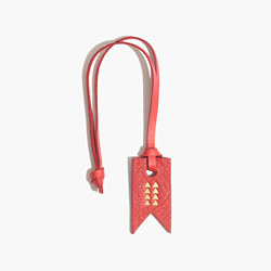 Leather Bag Tag with Triangle Design