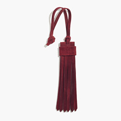 Suede Fringe Bag Tag in Dark Cabernet