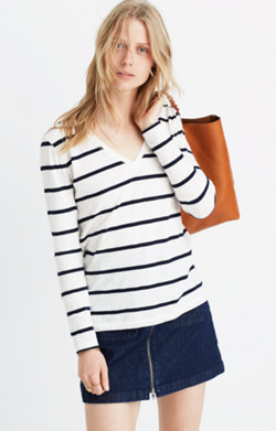 Whisper Cotton Long-Sleeve V-Neck Tee in Sheridan Stripe