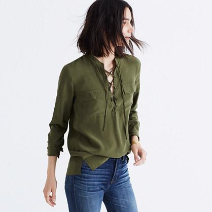 Silk Lace-Up Shirt
