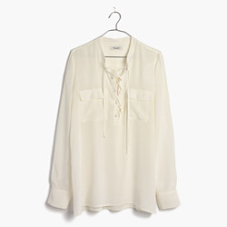 Silk Lace-Up Shirt