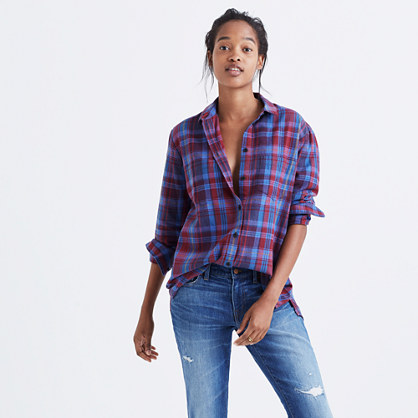 Flannel Oversized Ex-Boyfriend Shirt in Brookside Plaid