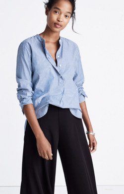 Popover Tunic Shirt in Bartlett Stripe