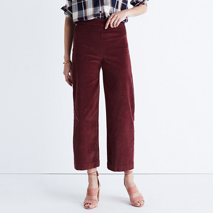 Wide-Leg Crop Jeans in Corduroy : pants | Madewell