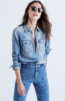 Denim Zip-Front Popover Shirt