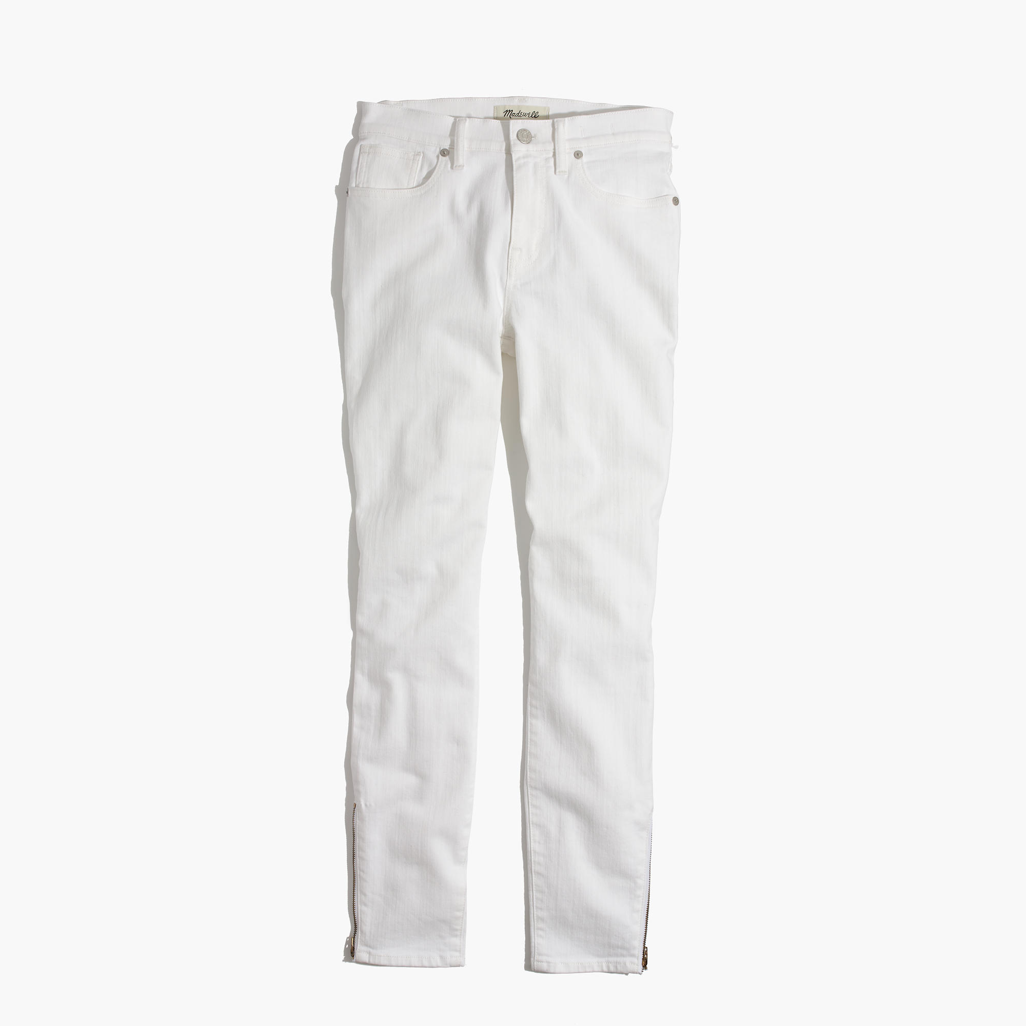 """Madewell et Sézane® 9"""" High-Rise Skinny Jeans in White: Ankle-Zip ..."""