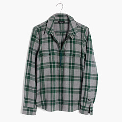 Flannel Zip-Front Popover Shirt in Washburn Plaid