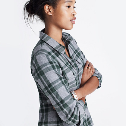 Flannel zip front popover shirt in washburn plaid button for Zip front flannel shirt
