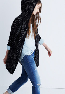 Hooded Herringbone Cardigan Sweater