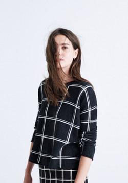Double Windowpane Pullover Sweater