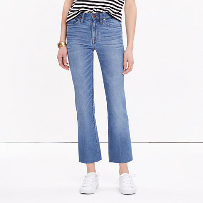 High-Rise Crop Flare Jeans in Maribel Wash