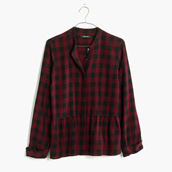 Lakeside Peplum Shirt in Buffalo Check