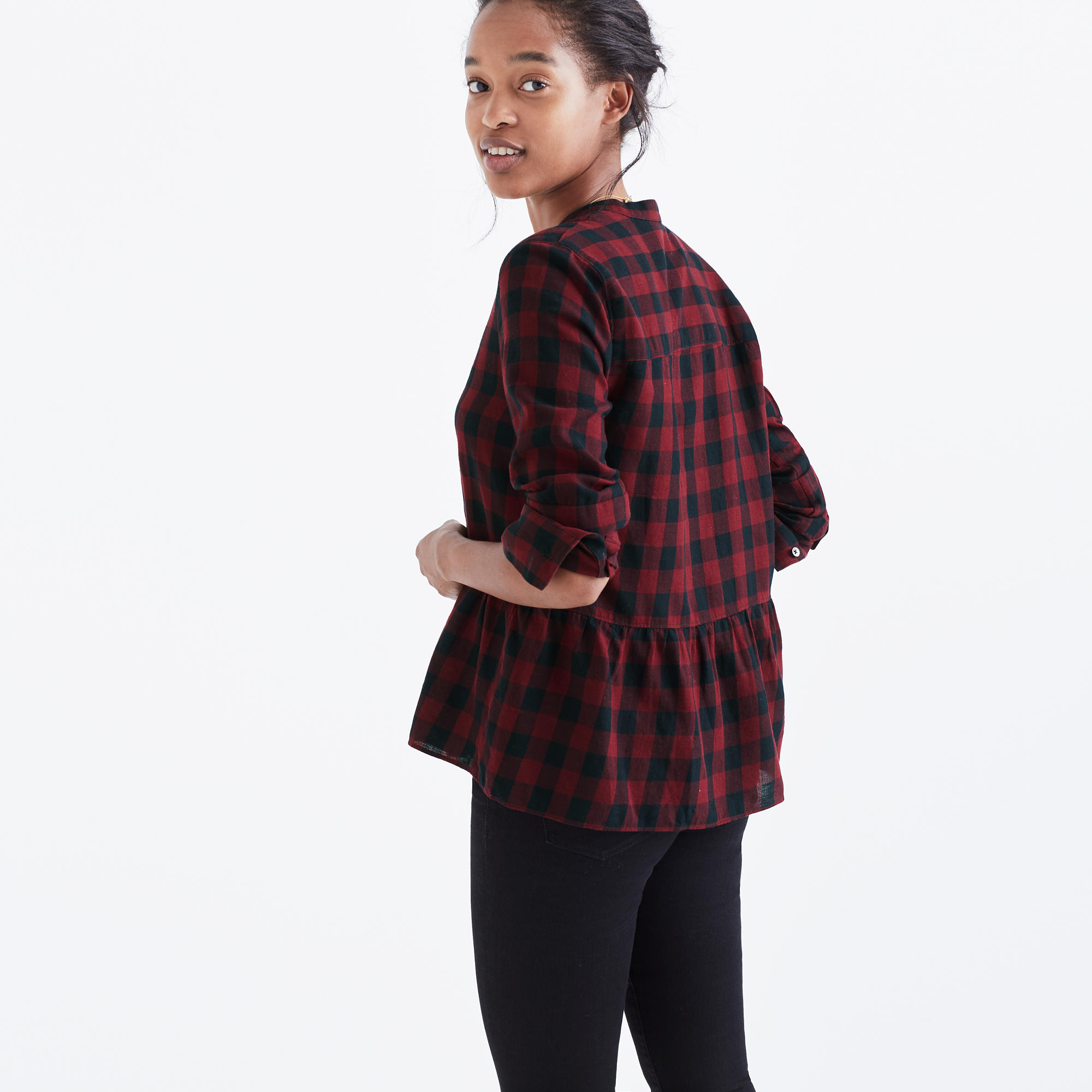 Ideal Lakeside Peplum Shirt in Buffalo Check : shopmadewell button-up  BM99