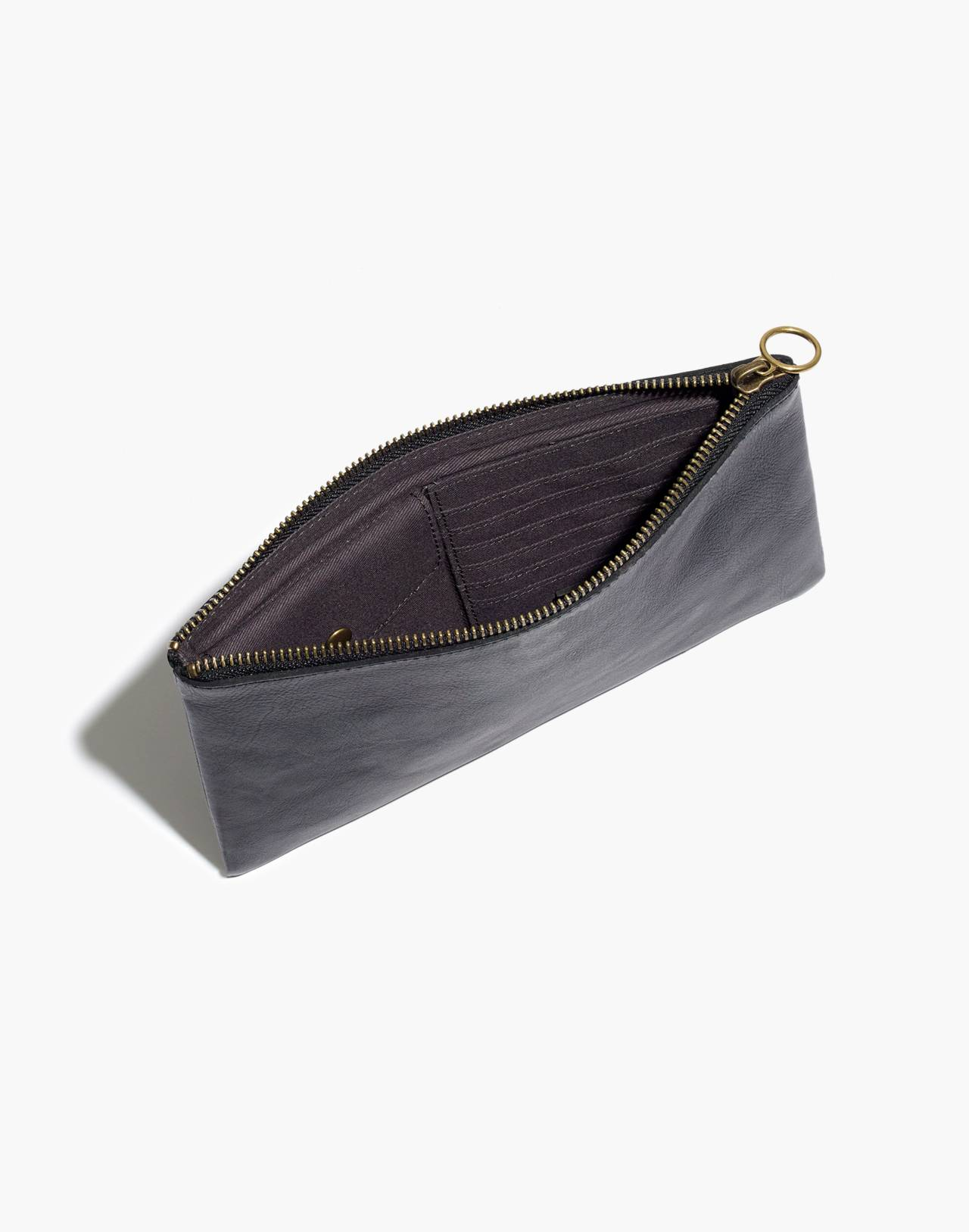 The Leather Pouch Clutch in true black image 3