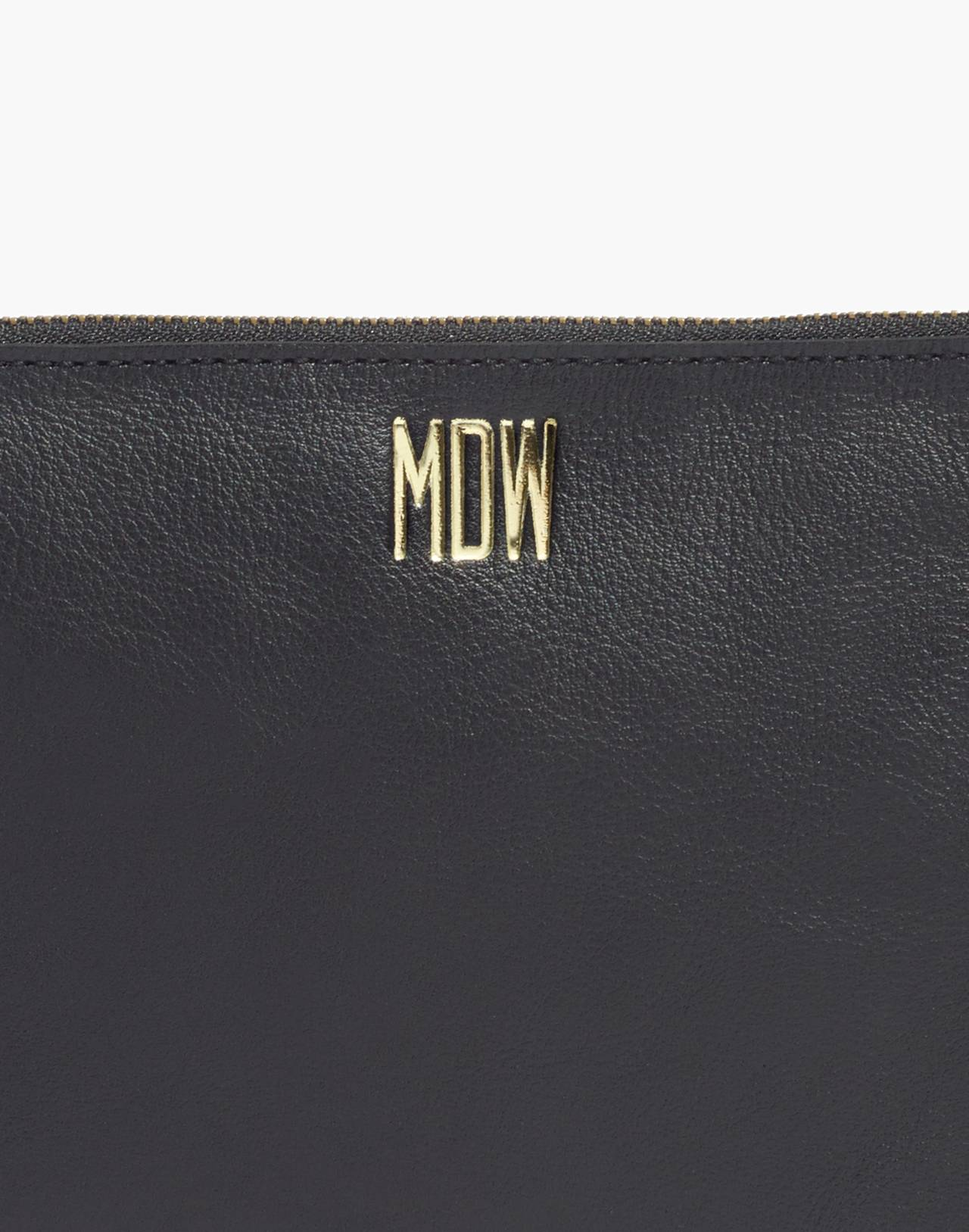 The Leather Pouch Clutch in true black image 4