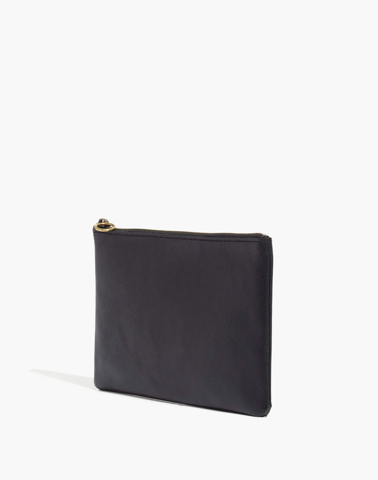 The Leather Pouch Clutch in true black image 2
