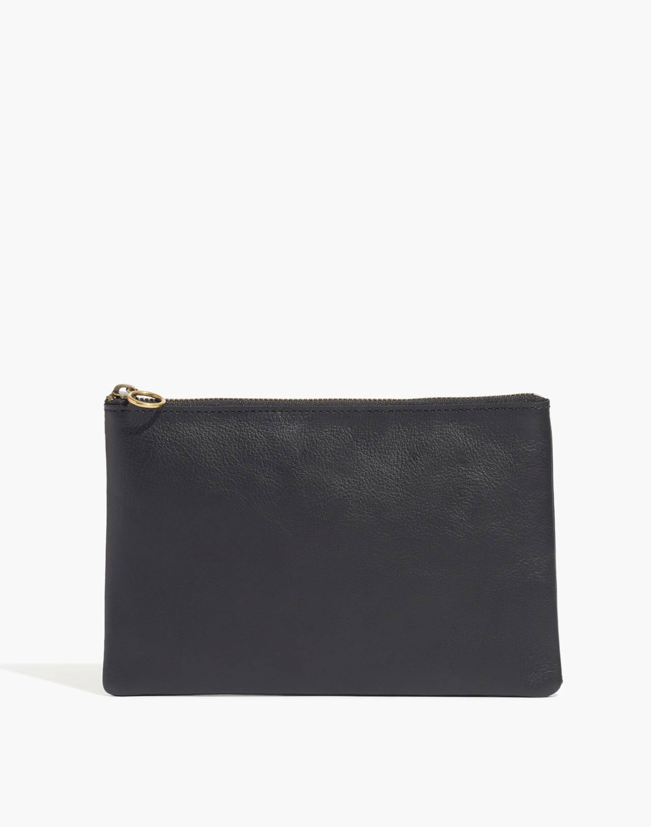 The Leather Pouch Clutch in true black image 1