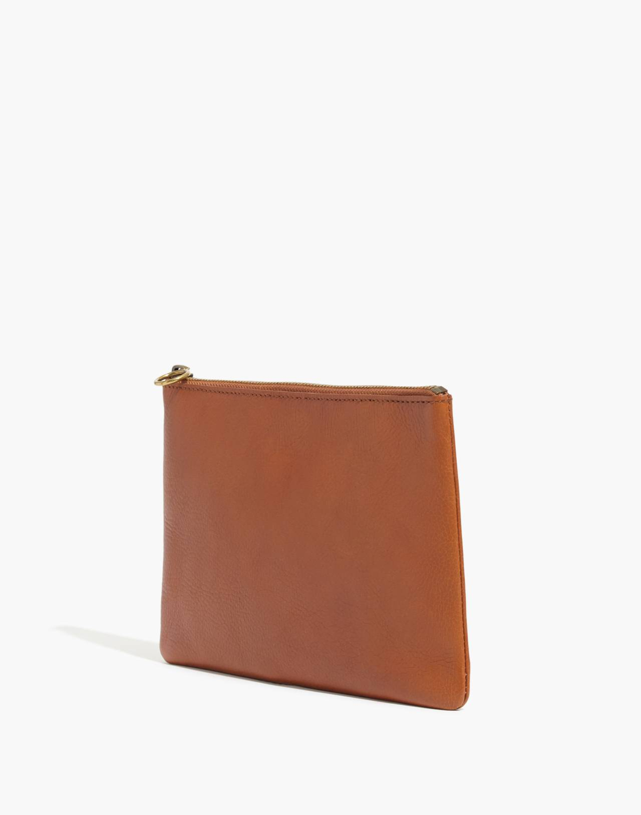 The Leather Pouch Clutch in english saddle image 2