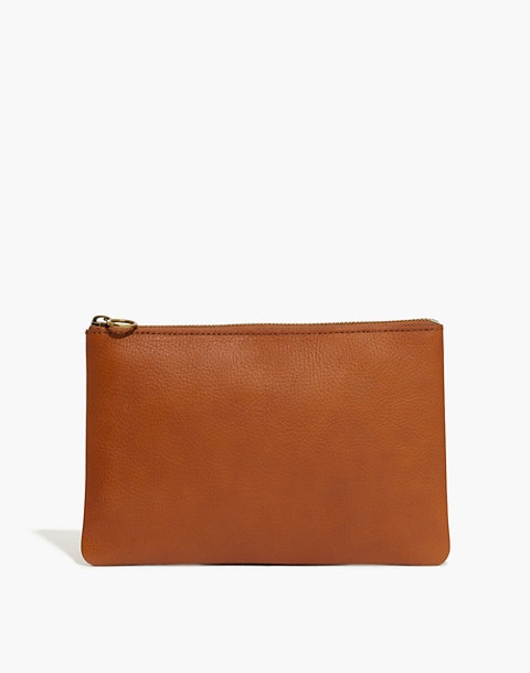 The Leather Pouch Clutch in english saddle image 1